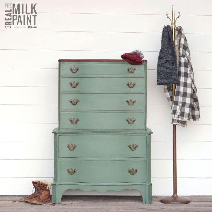 rustic dresser painted with Blue Spruce, Real Milk Paint's Color of the Month