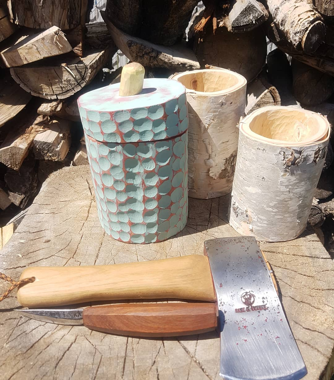 Axe, hollowed out wood, carved wooden contrainer