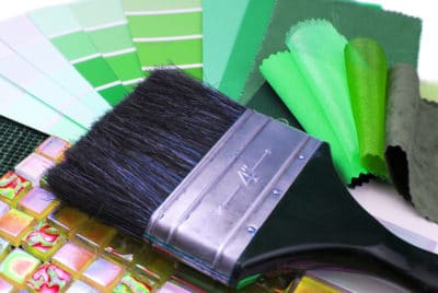 Paint Brush With Green Color Shades and Fabric