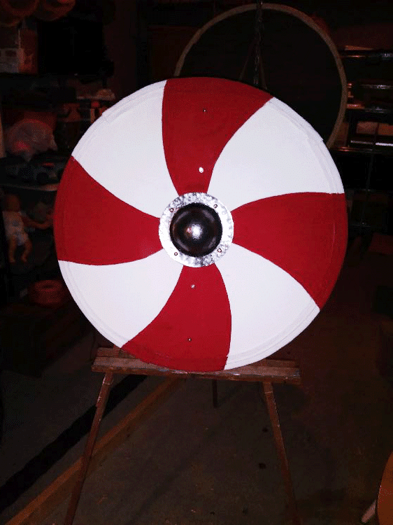 Viking shield painted with real milk paint